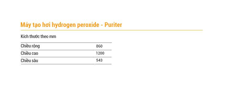Thông số kỹ thuật máy tạo hơi hydrogen Peroxide