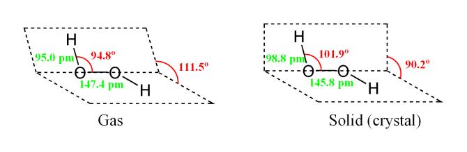 Cấu trúc của Oxy già - Hydrogen Peroxide (H2O2)